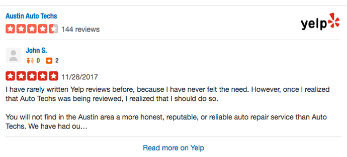 Austin Auto Techs Yelp Reviews